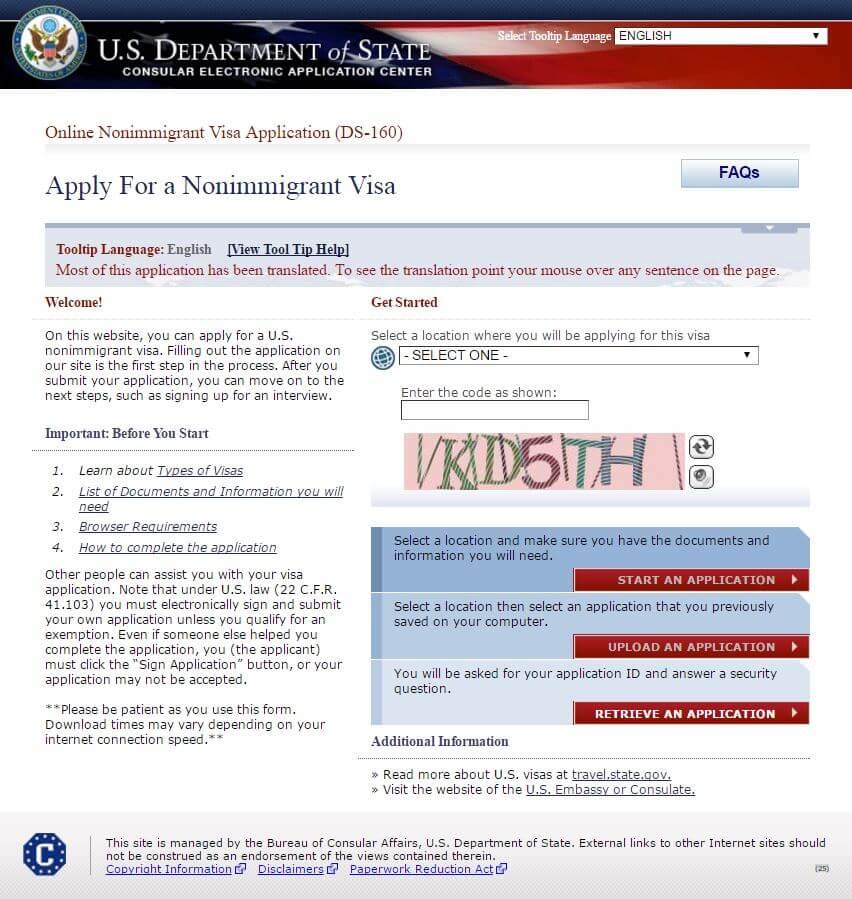 Перевод анкеты для визы в США