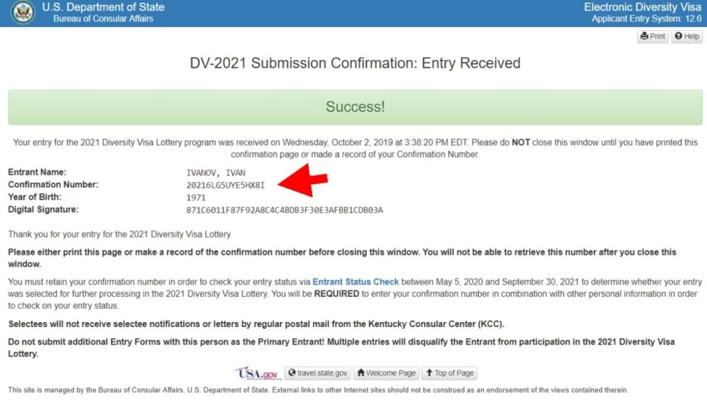 Confirmation Number